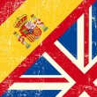 图库矢量图片: UK and Spanish grunge flag