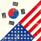 Bandeira de grunge de EUA e Coreia do Sul. — Vetor de Stock