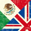 Vecteur: UK and Mexicgrunge flag