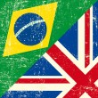 Vettoriale Stock : UK and Braziligrunge flag