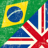 UK and Brazilian grunge flag — Stock Vector