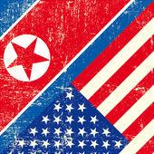 USA and North Korean grunge Flag — Stock Vector