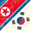 Stok Vektör: North Koreand South KoreFlag