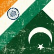 Indian and Pakistani grunge Flag — Stock Vector