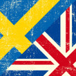 Vector de stock : English and sweden grunge Flag