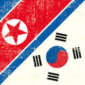 North Korean and South Korean Flag — Stock Vector