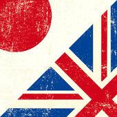 English and Japan grunge Flag — Stock Vector
