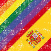 Spanish and gay grunge Flag. — Stock Vector