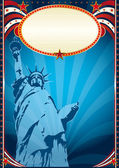 Poster with the Statue of liberty — Stock Photo