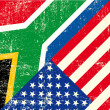 Stok Vektör: USand south africgrunge Flag.