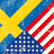 USand swedish grunge Flag. — Vector de stock #29996407