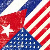 Usa a vlajky kubánské grunge. — Stock vektor