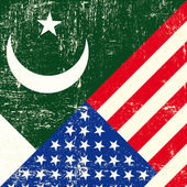 USA and Pakistani grunge Flag. — Vector de stock