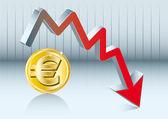 Euro fluctuation — Stock Vector