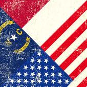 USA and North Carolina grunge Flag — Stock Vector