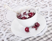 Cherry with ice cream — Stock Photo