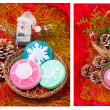 Christmas collage with snowflakes - soap — Stock Photo