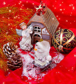 Christmas still-life with angel and ornament — Stock Photo