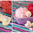 Collage with handmade strawberry soap — Stock Photo