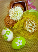 Easter eggs and hyacinth — Stock Photo
