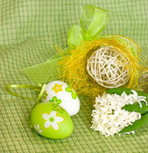 Easter eggs and white hyacinth — Stock Photo