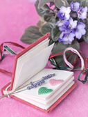 Small diary with lavender and hearts — Stock Photo
