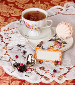 Tea time with dessert — Stock Photo