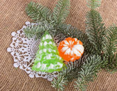 Christmas soap-mandarin and Christmas tree — Stock Photo