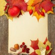 Autumn border - apples and fallen leaves — Stock Photo