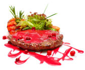 Gourmet food - steak in red sauce — Stock Photo