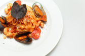 Seafood pasta - Tagliatelle marinara — Stock Photo