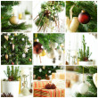 Christmas background with gift and green Xmas tree — Stock Photo