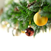Christmas border with Xmas balls — Stockfoto