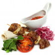 Stock Photo: Barbecue sticks with pork meat and vegetables