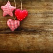 Valentine's vintage hearts on wooden background — Stock Photo