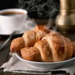 Stock Photo: Morning croissants with coffee