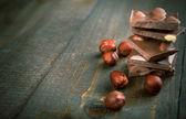 čokoláda s lískovými oříšky - kopie prostor — Stock fotografie