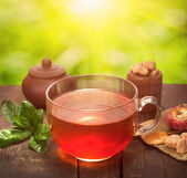 Glass cup of tea on sunny natural background — Stock Photo