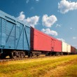Freight train on railway — Stock Photo