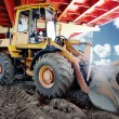 Bulldozer on a construction site — Stock Photo