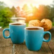 Two cups of coffee in morning garden — Stock Photo