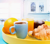 Healthy breakfast with coffee, croissants and fresh orange juice — Stock Photo