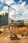 Excavator on construction site — Stock Photo