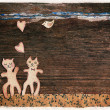 Valentines day card with handmade cats as lovers — Stock Photo #39642849