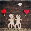 Valentines day card with handmade cats as lovers — Stock Photo