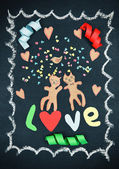 Valentines day card with paper cats as lovers — Foto de Stock