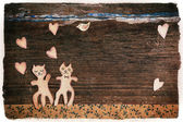 Valentines day card with handmade cats as lovers — Zdjęcie stockowe