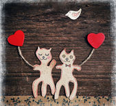 Valentines day card with handmade cats as lovers — Foto de Stock