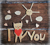 Valentines day card with paper cat in love — Stock Photo