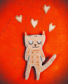 Valentines day card with paper cat in love — Stockfoto